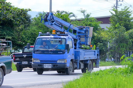 CHIANGMAI, THAILAND - AUGUST 15 2014 : Bucket truck of Nongjom Subdistrict Administrative Organization. Photo at road no.121 about 8 km from downtown Chiangmai, thailand.