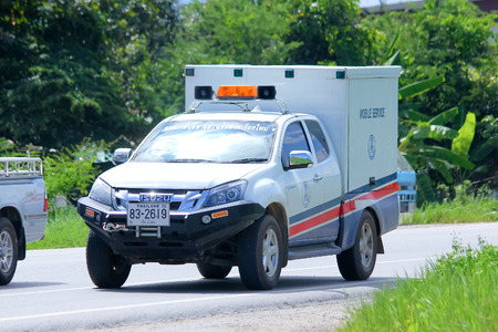 CHIANGMAI , THAILAND - AUGUST 22 2014:Fast emergency service mini truck of Chiang Mai Provincial Administrative Organization. Photo at road no.121 about 8 km from downtown Chiangmai, thailand.