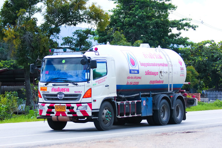 gas supply: CHIANGMAI , THAILAND - AUGUST 22 2014:  Chiangrai Gas supply Company Truck. For PTT LPG Gas. Photo at road no 121 about 8 km from downtown Chiangmai, thailand.