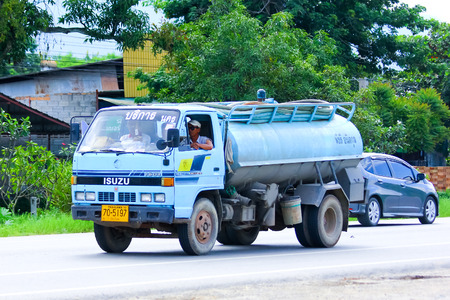 CHIANGMAI , THAILAND - AUGUST 22 2014: Private of Sewage truck. Photo at road no.121 about 8 km from downtown Chiangmai, thailand.