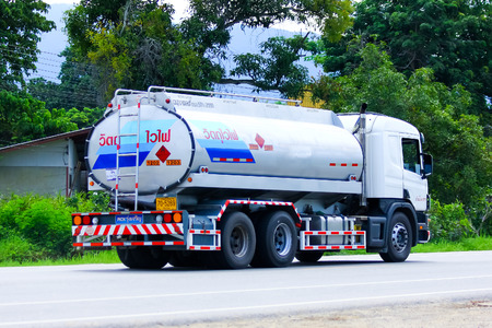 ngv: CHIANGMAI , THAILAND - AUGUST 22 2014:  Gas supply Truck. For PTT LPG Gas. Photo at road no 121 about 8 km from downtown Chiangmai, thailand. Editorial