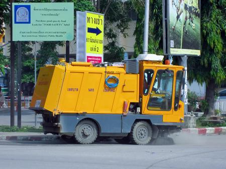 CHIANGMAI , THAILAND - FEBRUARY 2 2012:  Street sweeper machine of ChiangMai Municipality.Photo at Chiangmai Bus station,Chiangmai, thailand.