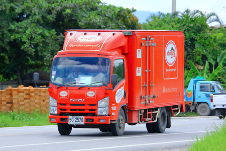 public company: CHIANGMAI , THAILAND - SEPTEMBER 4 2014:  Fast Delivery Truck no.1089 of PRESIDENT BAKERY PUBLIC COMPANY LIMITED ( Farmhouse product ). Photo at road no.121 about 8 km from downtown Chiangmai, THAILAND.
