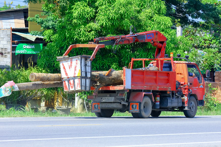Chiangmai, Thailand - October 3, 2014: Bucket truck of Sanphesue Subdistrict Administrative Organization. Photo at road no.121 about 8 km from downtown Chiangmai, thailand.