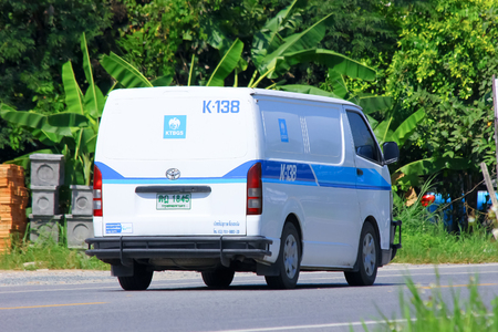 Chiangmai, Thailand - October 3, 2014:  Money delivery  Van of KTB General Services Company.  Photo at road no.121 about 8 km from downtown Chiangmai, thailand.
