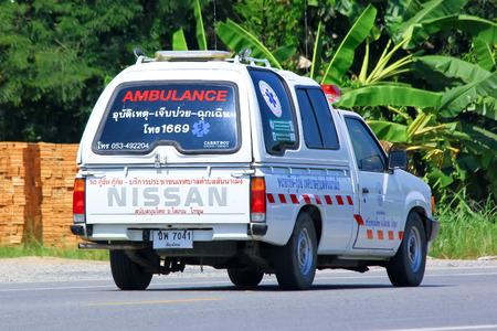 Chiangmai, Thailand - October 3, 2014: Ambulance pickup of Sanameng Subdistrict Administrative Organization. Photo at road no.121 about 8 km from downtown Chiangmai, thailand.