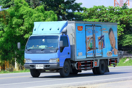 CHIANGMAI, THAILAND - OCTOBER 3 2014: Cargo Truck of Thai Preserved Food Factory Company Limited. Photo at road no.121 about 8 km from downtown Chiangmai, thailand.