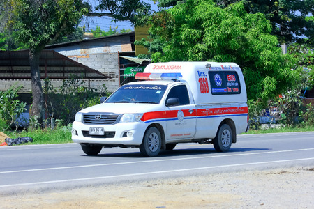 CHIANGMAI, THAILAND - OCTOBER 3 2014: Ambulance pickup of Maepong Subdistrict Administrative Organization. Photo at road no.121 about 8 km from downtown Chiangmai, thailand.