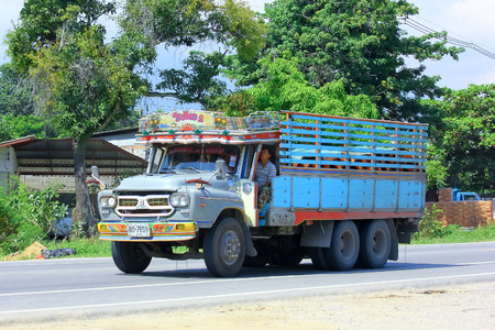 CHIANGMAI, THAILAND - OCTOBER 3 2014: Old truck of Sang Thong Farm. Photo at road no.121 about 8 km from downtown Chiangmai, thailand.