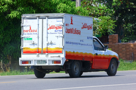 CHIANGMAI, THAILAND-OCTOBER 3 2014: Refrigerated container mini truck of kimchuagroup. Photo at road no 121 about 8 km from downtown Chiangmai, thailand.