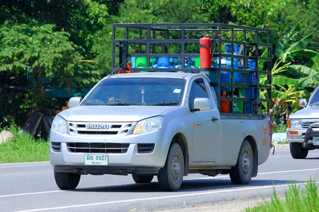 CHIANGMAI, THAILAND-OCTOBER 3 2014: Gas mini truck of Picnic gas company. Photo at road no 121 about 8 km from downtown Chiangmai, thailand.
