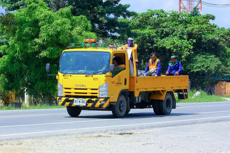 CHIANGMAI , THAILAND - OCTOBER  3 2014: Garden truck of Department of Highways. Photo at road no 121 about 8 km from downtown Chiangmai, thailand.