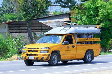 CHIANGMAI , THAILAND - OCTOBER 3 2014: Mini truck for Road Eletricity Team of Department of Highways. Photo at road no 121 about 8 km from downtown Chiangmai, thailand.