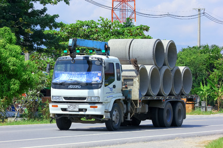 CHIANGMAI , THAILAND - OCTOBER  3 2014: Truck for Concrete Pipe of Piboon Concrete. Photo at road no.121 about 8 km from downtown Chiangmai, thailand.