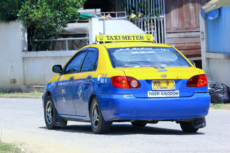 CHIANGMAI , THAILAND - OCTOBER  3 2014: City taxi chiangmai, Service in city. Photo at road no.121 about 8 km from downtown Chiangmai, THAILAND.
