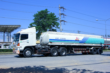 CHIANGMAI, THAILAND-OCTOBER 4 2014: Petroleum Oil Triler truck. Photo at road no.1001 about 8 km from downtown Chiangmai, thailand.