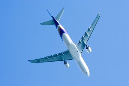 tec: CHIANGMAI , THAILAND-FEBRUARY 10 2008 : HS-TEC Airbus A330-300 of Thaiairway. Take off from Chiangmai airport to Bangkok Suvarnabhumi.