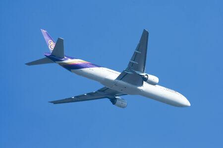 CHIANGMAI, THAILAND - DECEMBER 23 2007: Boeing 777-300 HS-TKE of Thaiairway. Takeoff from Chiangmai airport to Bangkok Suvarnabhumi, thailand.