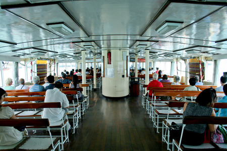 VICTORIA HARBOUR, HONG KONG - OCTOBER 4 2007: Inside of \\\CELESTIAL STAR\\\ ferry in Victoria Harbour Hong Kong, China. Hong Kong ferry is in operation in Victoria harbor for more than 120 years. Editorial