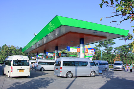 CHIANGMAI , THAILAND - OCTOBER 26 2014: Bangchak Oil station. Location on road no.11 about 5 km from chiangmai city. Chiangmai, Thailand.