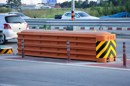 CHIANGMAI, THAILAND -NOVEMBER 1 2014: Crash Cushion at road no 121 about 8 km from downtown Chiangmai, thailand.