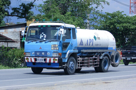 CHIANGMAI , THAILAND - NOVEMBER 26 2014: Api oxygen truck.  Photo at road no 121 about 8 km from downtown Chiangmai, thailand.
