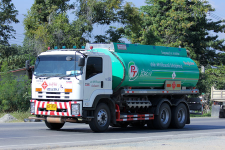 CHIANGMAI, THAILAND - NOVEMBER 27 2014: Oil Truck of PTG Energy Oil transport Company. Photo at road no.121 about 8 km from downtown Chiangmai, thailand.