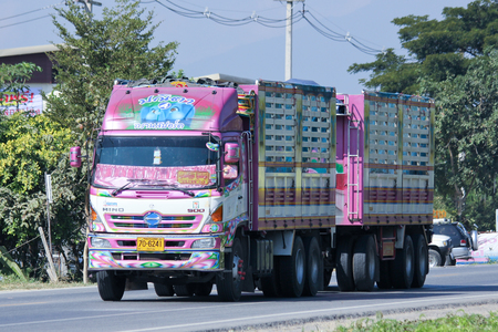 CHIANGMAI, THAILAND - NOVEMBER 27 2014:  Trailer Truck of Panita Transportation company. Photo at road no.121 about 8 km from downtown Chiangmai, thailand.