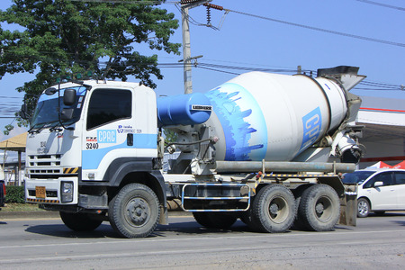 CHIANGMAI, THAILAND - OCTOBER 4 2014: Concrete truck of CPAC Concrete product company. Photo at road no.121 about 8 km from downtown Chiangmai, thailand.