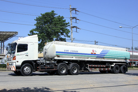 CHIANGMAI, THAILAND - OCTOBER 4 2014: Private Oil Truck. Photo at road no.121 about 8 km from downtown Chiangmai, thailand.