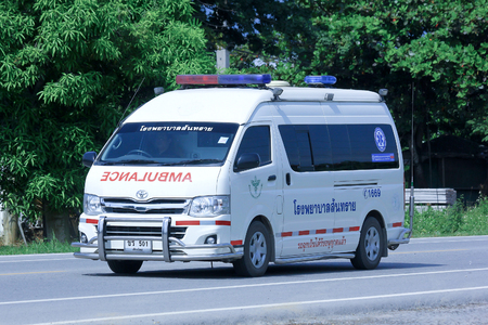 CHIANGMAI, THAILAND-OCTOBER 6 2014: Ambulance van of Sansai hospital. Photo at road no.121 about 8 km from downtown Chiangmai, thailand.