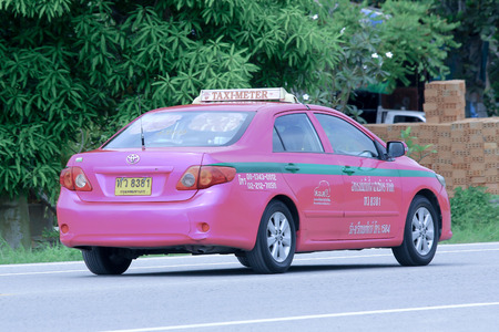 CHIANGMAI , THAILAND - OCTOBER 6 2014: City taxi Bangkok, Service in city. Photo at road no.121 about 8 km from downtown Chiangmai, thailand.