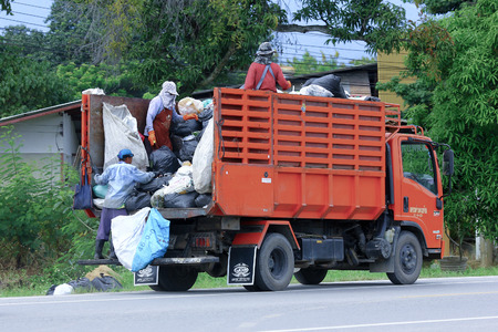 CHIANGMAI, THAILAND -OCTOBER 6 2014: Garbage truck of Nongjom Subdistrict Administrative Organization. Photo at road no 121 about 8 km from downtown Chiangmai, thailand.