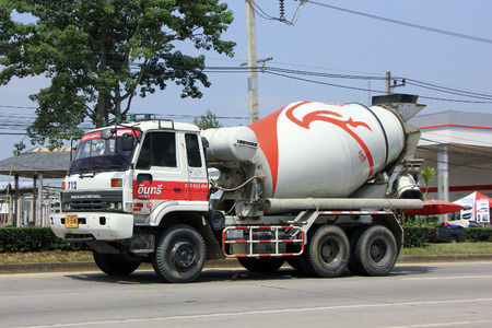 CHIANGMAI, THAILAND - OCTOBER 7 2014: Cement truck of INSEE Concrete company. Photo at road no 121 about 8 km from downtown Chiangmai, thailand.