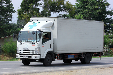 CHIANGMAI, THAILAND -OCTOBER 10 2014:  Trailer Truck for Drug Transportation. Photo at road no.121 about 8 km from downtown Chiangmai, thailand.