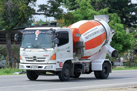 CHIANGMAI, THAILAND-OCTOBER 9 2014 : Cement truck of PPS Concrete company. Photo at road no 121 about 8 km from downtown Chiangmai, thailand.