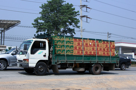 public company: CHIANGMAI, THAILAND - OCTOBER 16  2014:  Truck of Thai Beverage Public Company Limited. Photo at road no 121 about 8 km from downtown Chiangmai, thailand.