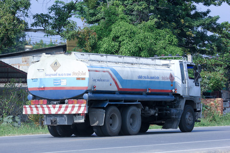 CHIANGMAI, THAILAND -OCTOBER 18 2014:  Oil Truck of Y.M. Oil transport Company. Photo at road no.121 about 8 km from downtown Chiangmai, thailand.