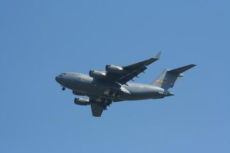 united states air force: CHIANGMAI , THAILAND- NOVEMBER 11 2008:Boeing C-17A Globemaster III, 21099 Of United States Air Force.  Landing to Chiangmai airport.