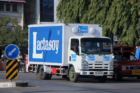 CHIANGMAI, THAILAND - DECEMBER 27 2014: :Container truck of Lactasoy Company, Soy milk Product. Route Nakhon ratchasima and Chiangmai. Photo at Chiangmai bus station, thailand. Editorial