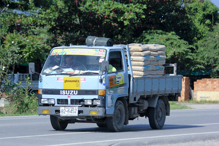CHIANGMAI, THAILAND -OCTOBER 25 2014: Private Truck for Cement bag transportation. Photo at road no 121 about 8 km from downtown Chiangmai, thailand.