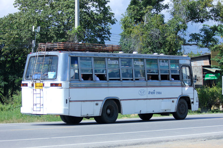 CHIANGMAI, THAILAND -OCTOBER 25 2014: White bus taxi chiangmai, Service between city and Wiang Haeng district. Photo at road no.121 about 8 km from downtown Chiangmai, thailand.