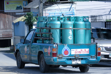 ngv: CHIANGMAI, THAILAND -OCTOBER 25 2014: Gas mini truck of PTT gas company. Photo at road no 121 about 8 km from downtown Chiangmai, thailand.