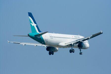 CHIANGMAI, THAILAND - DECEMBER 17 2008: 9V-SLE  Airbus A320-200 of Silkair, Landing to Chiangmai airport from Singapore.