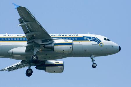 CHIANGMAI , THAILAND - DECEMBER 18 2008: HS-TYR Airbus A319-100 of Royal Thai Air force. Landing to Chiangmai Airport.