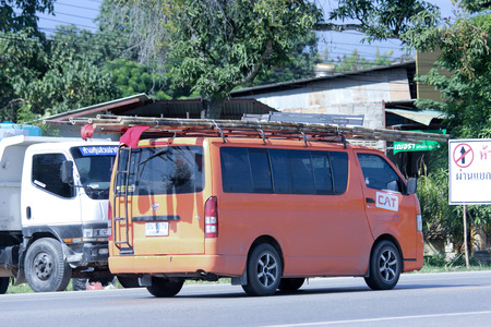 public company: CHIANGMAI, THAILAND - OCTOBER 30 2014: Van truck of CAT Telecom Public Company Limited. Intenet and Telephone Service in Thailand. Photo at road no 121 about 8 km from downtown Chiangmai, thailand. Editorial