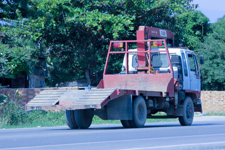 CHIANGMAI, THAILAND - NOVEMBER 1 2014:  Private Truck with crane. Photo at road no.121 about 8 km from downtown Chiangmai, thailand. Editorial