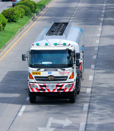 Chiangmai, Thailand - June 4, 2014: PTT Oil Truck. Photo at road no.121 about 8 km from downtown Chiangmai, thailand.