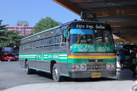 CHIANGMAI, THAILAND - DECEMBER 2 2014:   Greenbus company bus route Lampang and Chiangmai. Budget fan bus, Photo at Chiangmai bus station, thailand.