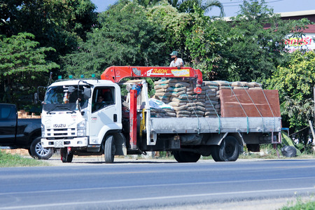 CHIANGMAI, THAILAND - DECEMBER  4 2014:  Private Truck with crane. Photo at road no.121 about 8 km from downtown Chiangmai, thailand.